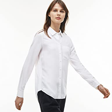 f0c5c2af8a Lacoste - Chemise Manches Longues Femme - CF9688 Blanc (Blanc) 46 (46)