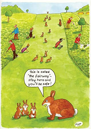 GOLF RABBITS ON FAIRWAY FUNNY HUMOUROUS HAPPY BIRTHDAY CARD THE SIDE OF LIFE