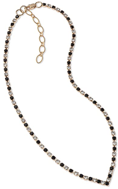 b7f88f8cb Black Swarovski Necklace Diamante Jewellery V Necklace Gold Finish in Swarovski  Crystal Black Crystal Necklace: LJ Designs and Oaks Jewellery: Amazon.co.uk:  ...