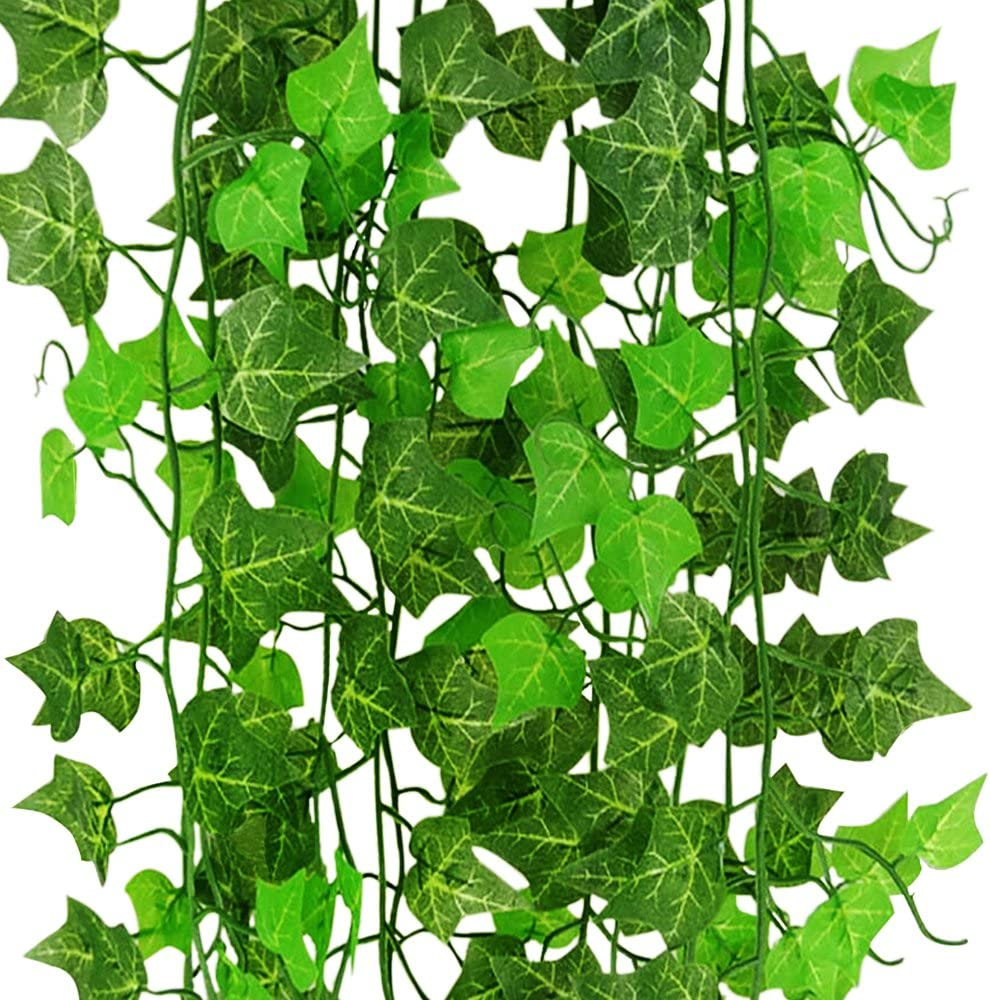 CLTPY Artificial Ivy Leaves Fake Greenery Garlands Hanging for Wedding Party Garden Wall Decoration, 12 Strands Each Pack (12 x 7.8 Feet)