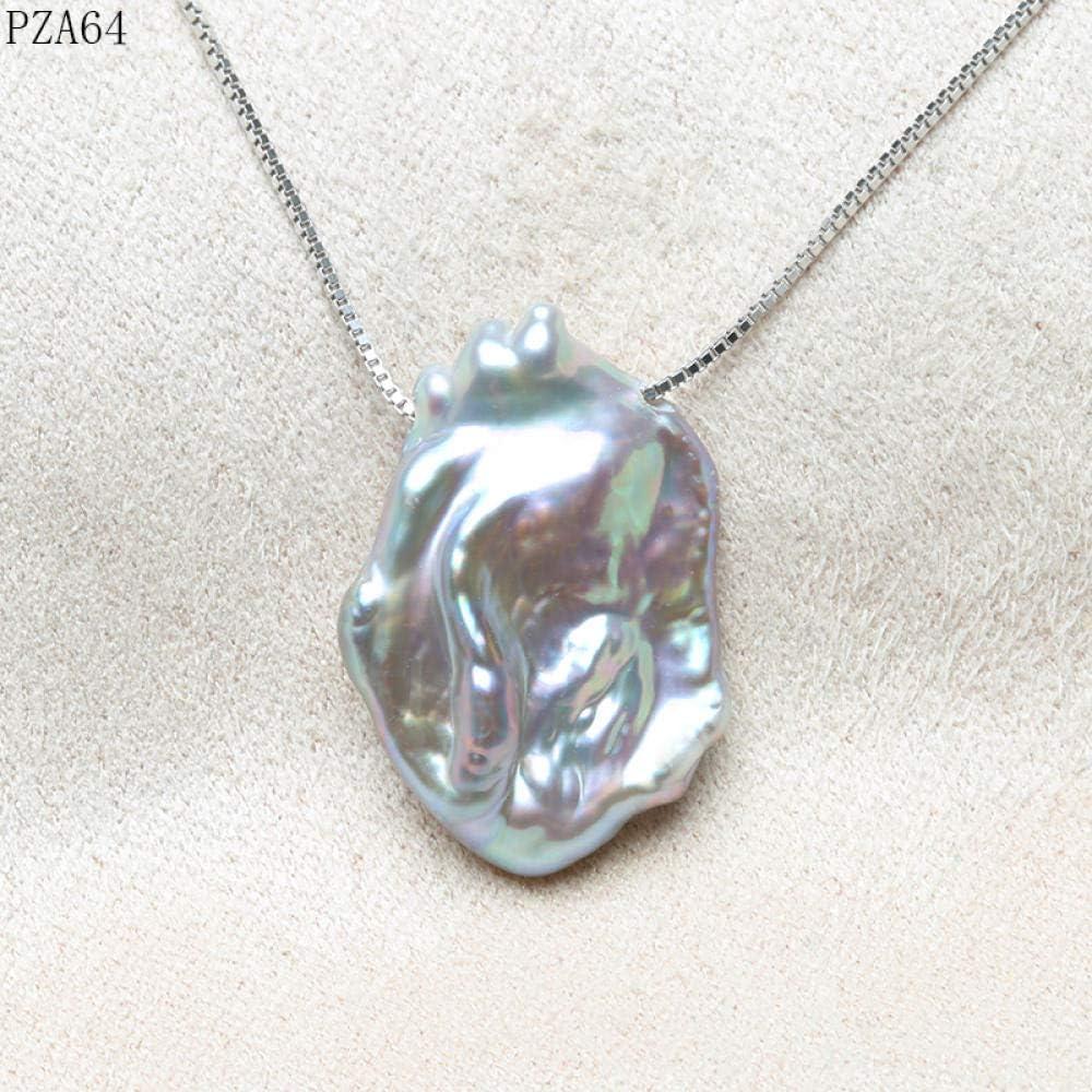 CTDMMJ Cadena Colgante Collar Collar de Perlas Gris Perla Plana Irregular Alto Brillo 15-20mm-gris_Los 45cm