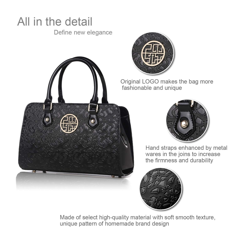 Eastpm PU-handväskor för kvinnor läderväskor tygväska för kvinnor topphandtag väskor för kvinnor handväskor axelväskor Svart ros