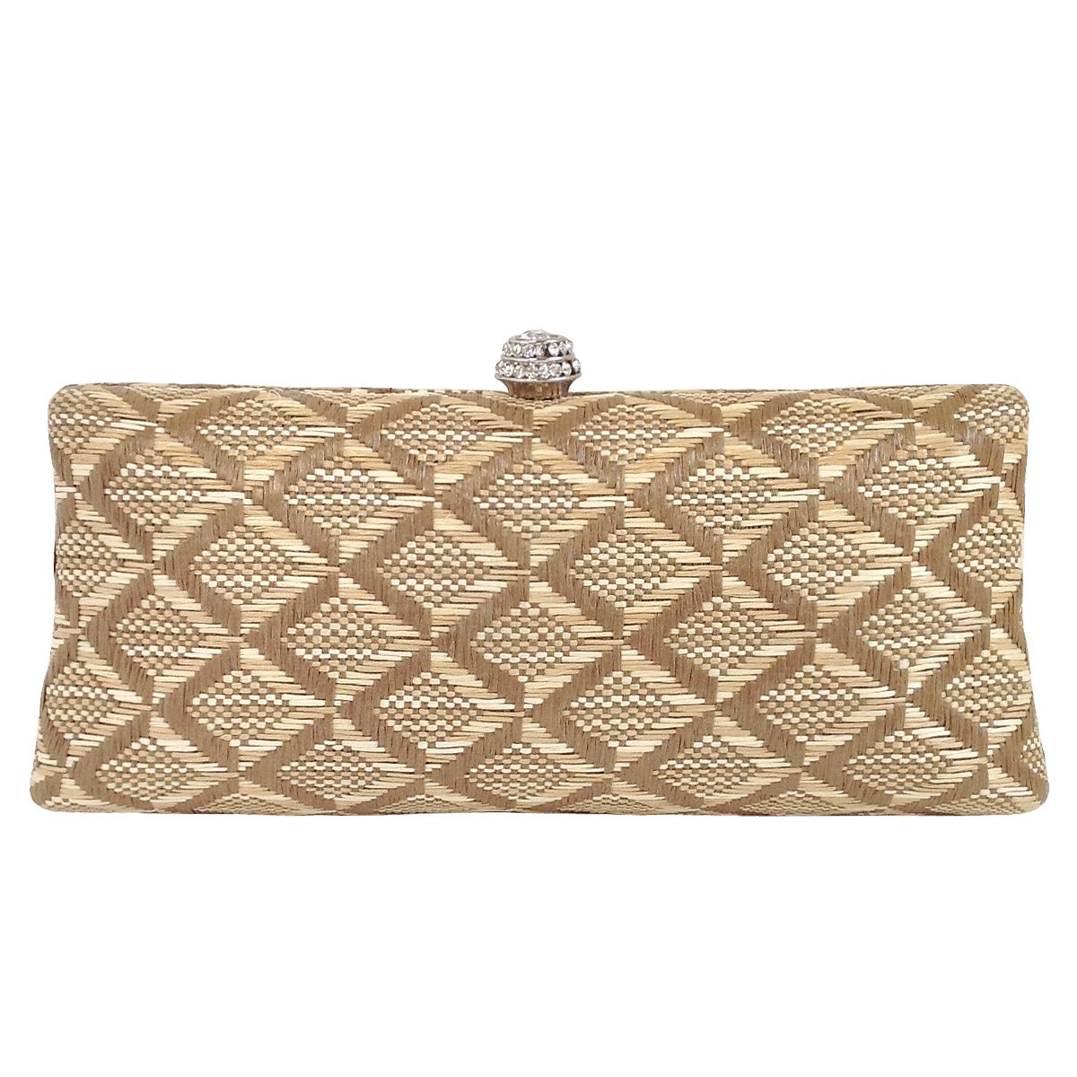 Geometric Patterned Raffia Straw Box Clutch, Natural