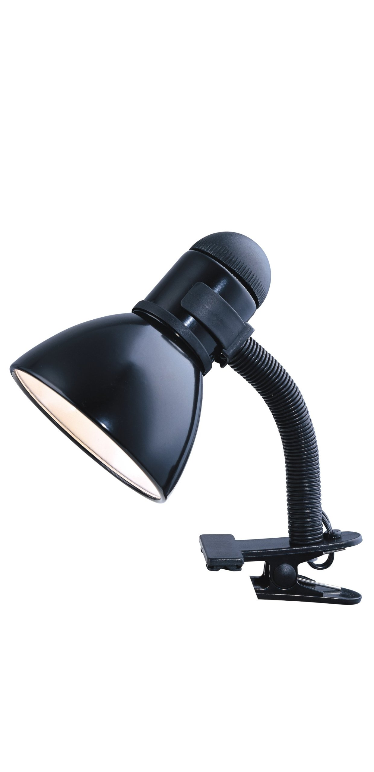 Park Madison Lighting PMD-9814-31 Incandescent Clamp-A Lamp with Adjustable Gooseneck Column and Oversized Turn Knob Switch in Black Finish, 11 1/4'' Tall