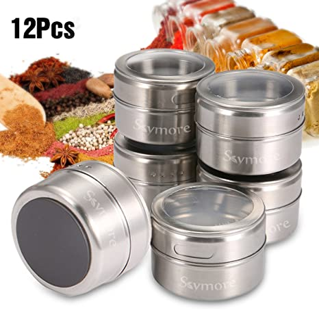 f1d9a6f07916 Skymore 12 Pcs Spice Jar Stainless Steel Magnetic Spice Tins Set Spice  Organizer Condiment Container, Clear Top Lid & Sift-Pour, With Spice Labels