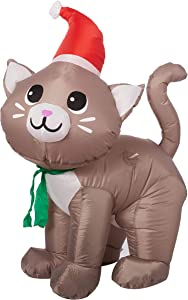 Gemmy Inflatable 3.5' Tall Christmas Kitten Cat with Santa Hat Outdoor Holiday Decoration