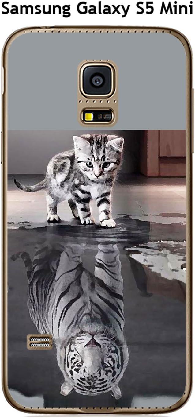 Onozo Coque Samsung Galaxy S5 Mini Design Chat Tigre Blanc: Amazon ...