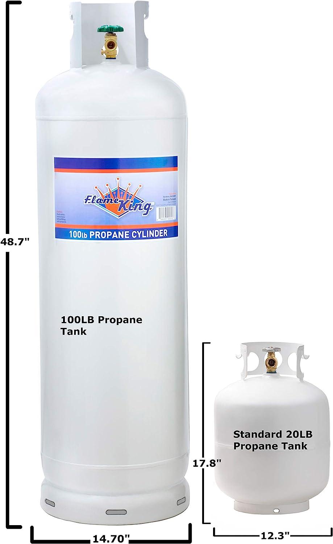 Amazon Com Flame King Ysn100a 100 Lb Steel Propane Tank Cylinder With 10 Pol Valve Collar White Garden Outdoor