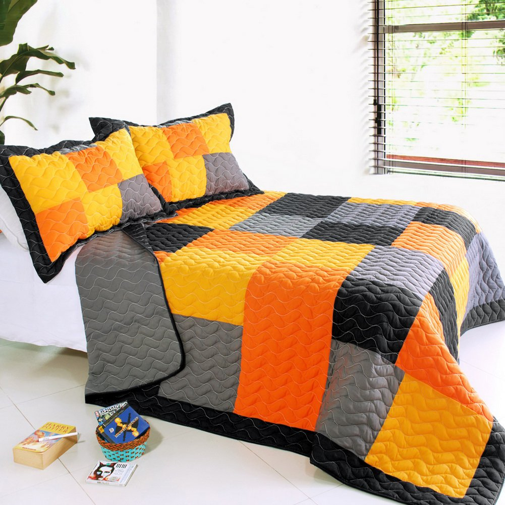 [Mild Winter] 3PC Vermicelli-Quilted Patchwork Quilt Set (UK Double/King Size)/ (US Full/Queen Size) Blancho Bedding