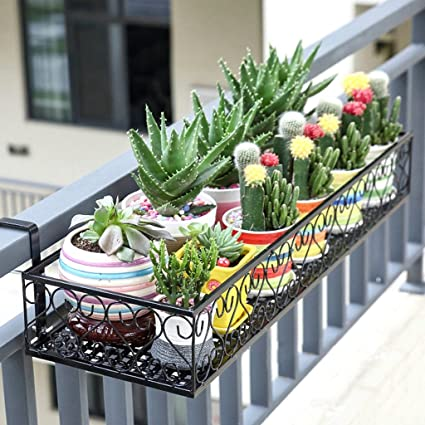 Flower/Plant Stand Balcony Hanging Wrought Iron Railing Hanging Flower Pot Rack Fence Flower Stand & Amazon.com : Flower/Plant Stand Balcony Hanging Wrought Iron Railing ...