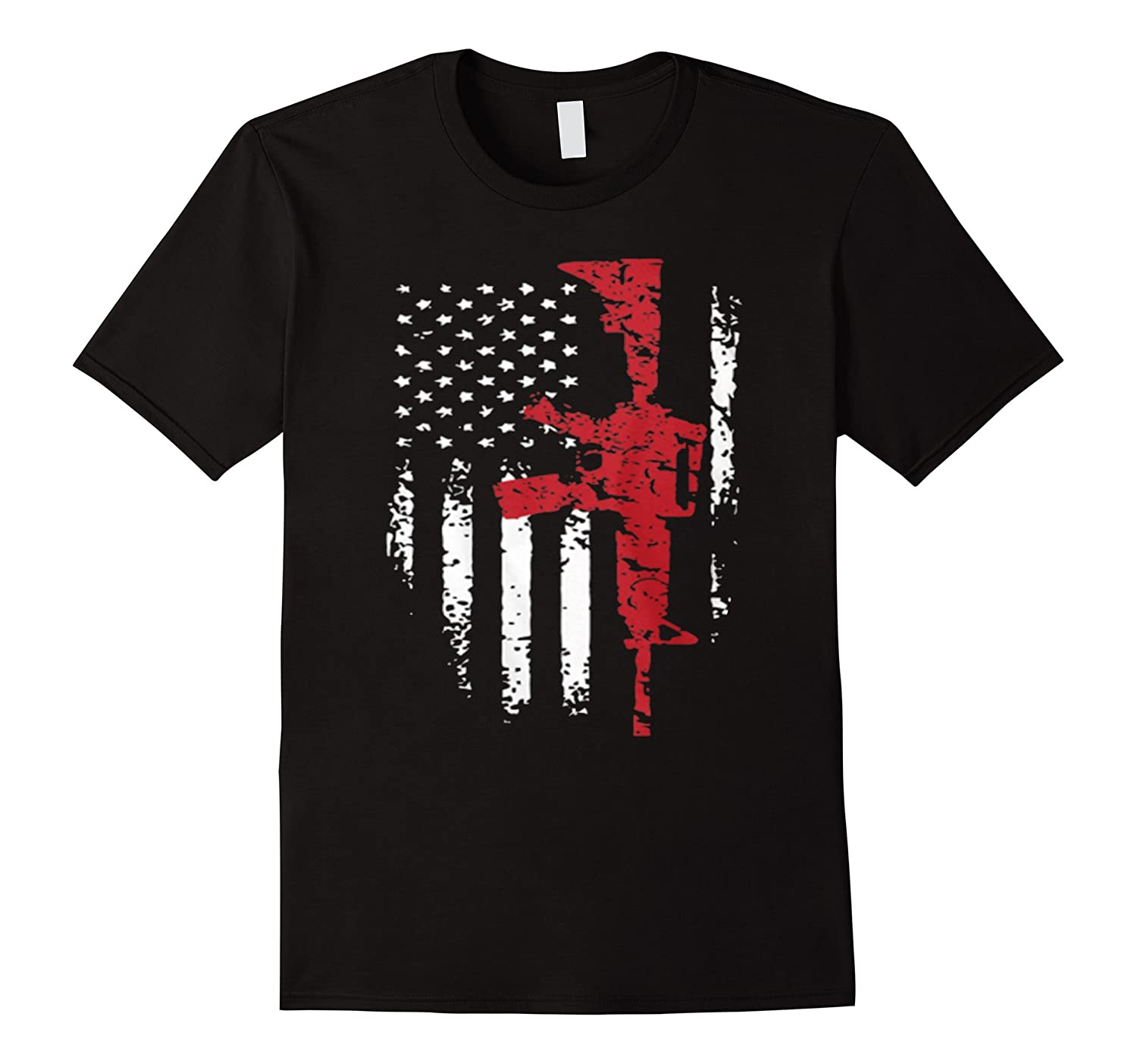 American Flag Gun T-shirt for U.S. Army-BN