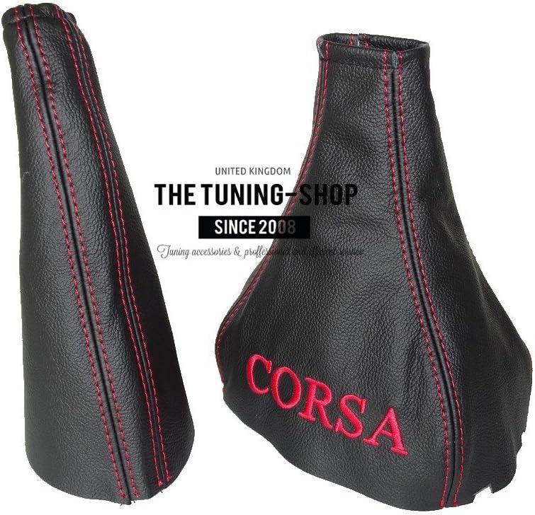 Pour Vauxhall Opel Corsa B 1993 2000/Frein /à main Gear /& Gu/être en cuir noir rouge Corsa broderie