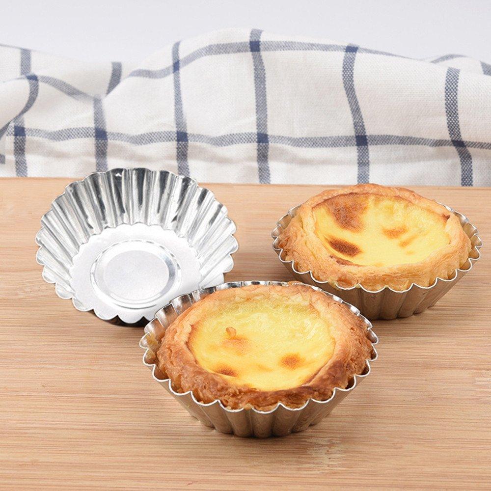 Dolloress 5PCS Cake Cookie -Egg Tart Aluminum Cupcake Lined Mold Mould Tin Baking Tool Hot