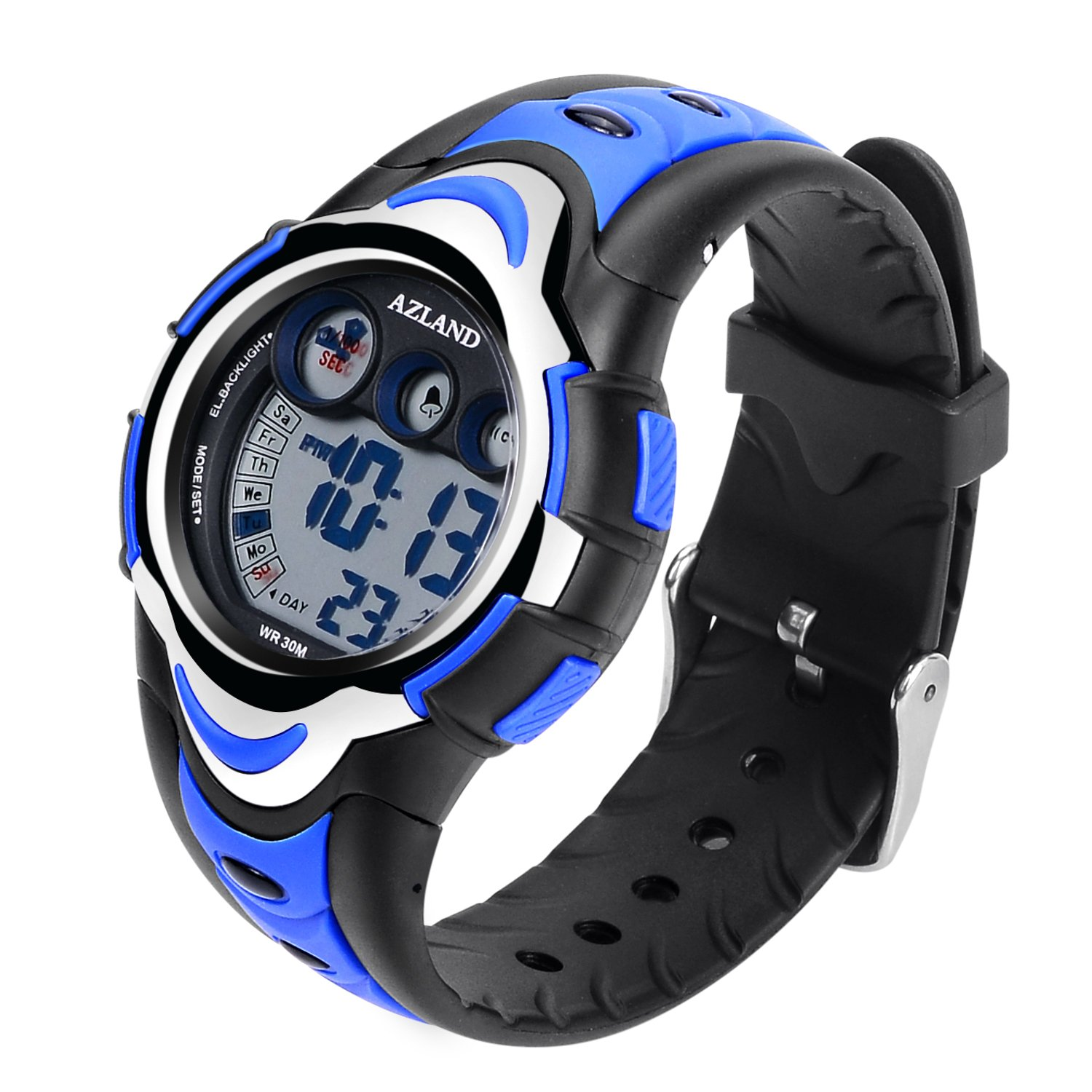 AZLAND Waterproof Swimming Led Digital Sports Watches for Children Kids Girls Boys,Rubber Strap,Blue by AZLAND (Image #5)