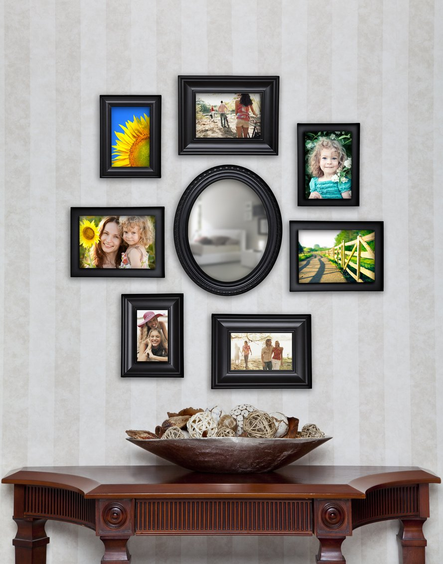 Amazon 8 piece contemporary black picture frame set with amazon 8 piece contemporary black picture frame set with mirror jeuxipadfo Choice Image