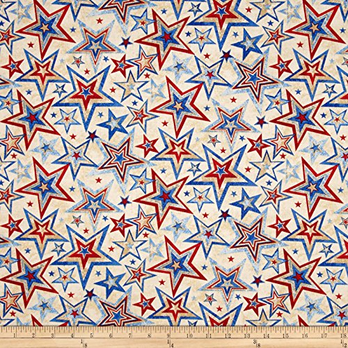 Fabri-Quilt Marblehead Valor Multi Star Beige Fabric by The Yard, Beige - Patriotic Quilt Fabric
