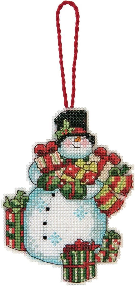 DIMENSIONS Susan Winget Snowman Ornament Counted Cross Stitch Kit-3-1/4 x4-1/2 14 Count Plastic Canvas