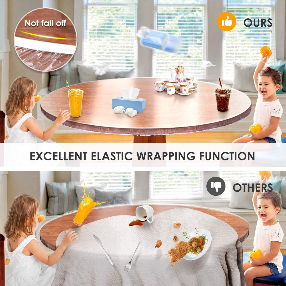 Round Tablecloth Table Protector, Extra Clear Plastic Fitted Tablecloth with Elastic Band, Vinyl Waterproof Round Table Cover