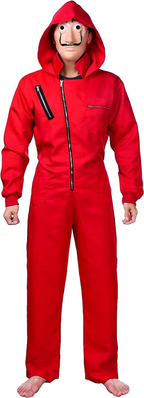 Matt Viggo-La CASA de Papel D/éguisement Cosplay Combinaison et Masque de Dali Carnaval Halloween Rouge,X-Large(44-46//180-185cm)