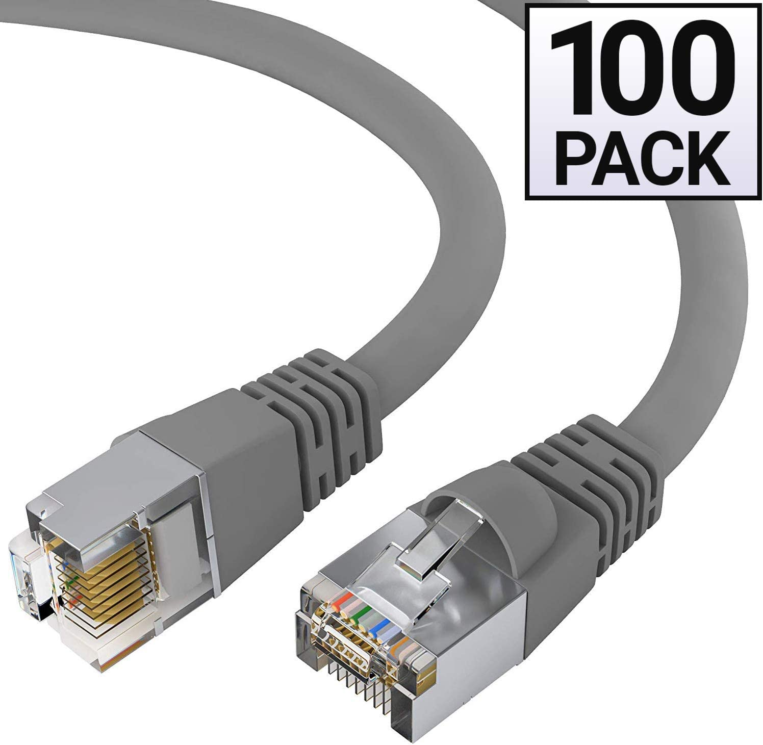 GOWOS 50-Pack 7 Feet - Gray FTP RJ45 10Gbps High Speed LAN Internet Cord Available in 28 Lengths and 10 Colors Cat5e Shielded Ethernet Cable Computer Network Cable with Snagless Connector