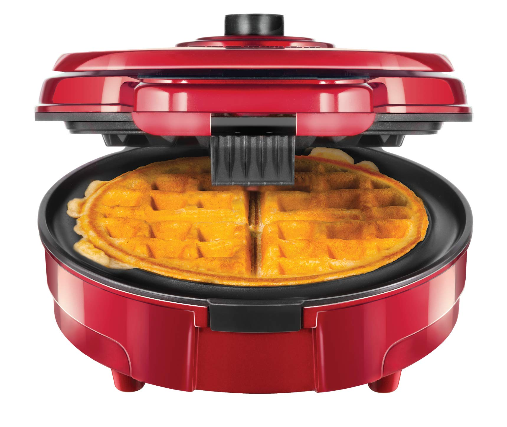 Chefman Anti-Overflow Belgian Maker w/Shade Selector & Mess Free Moat Round Waffle-Iron w/Nonstick Plates & Cool Touch Handle, Measuring Cup Included, Red by Chefman (Image #1)