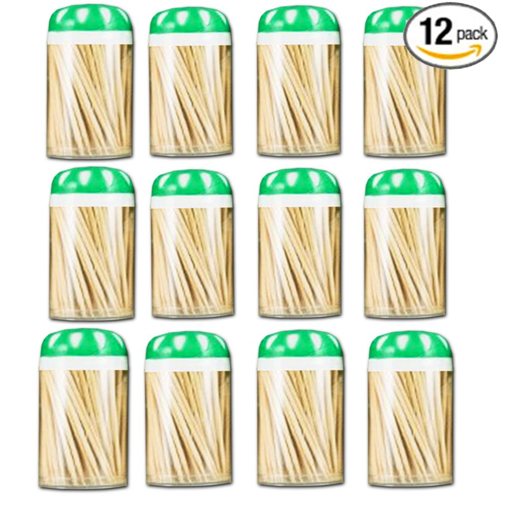 Toothpick Dispenser 4 pack with 600 ct 100% All Natural Bamboo Round Toothpicks Kitchen Essentials Toothpick Holders