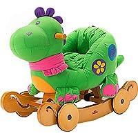 Labebe Child Rocking Horse Toy, Stuffed Animal Rocker Toy, 2 in 1 Green Dinosaur Rocker Whit Wheel for Kid 6-36 Months…