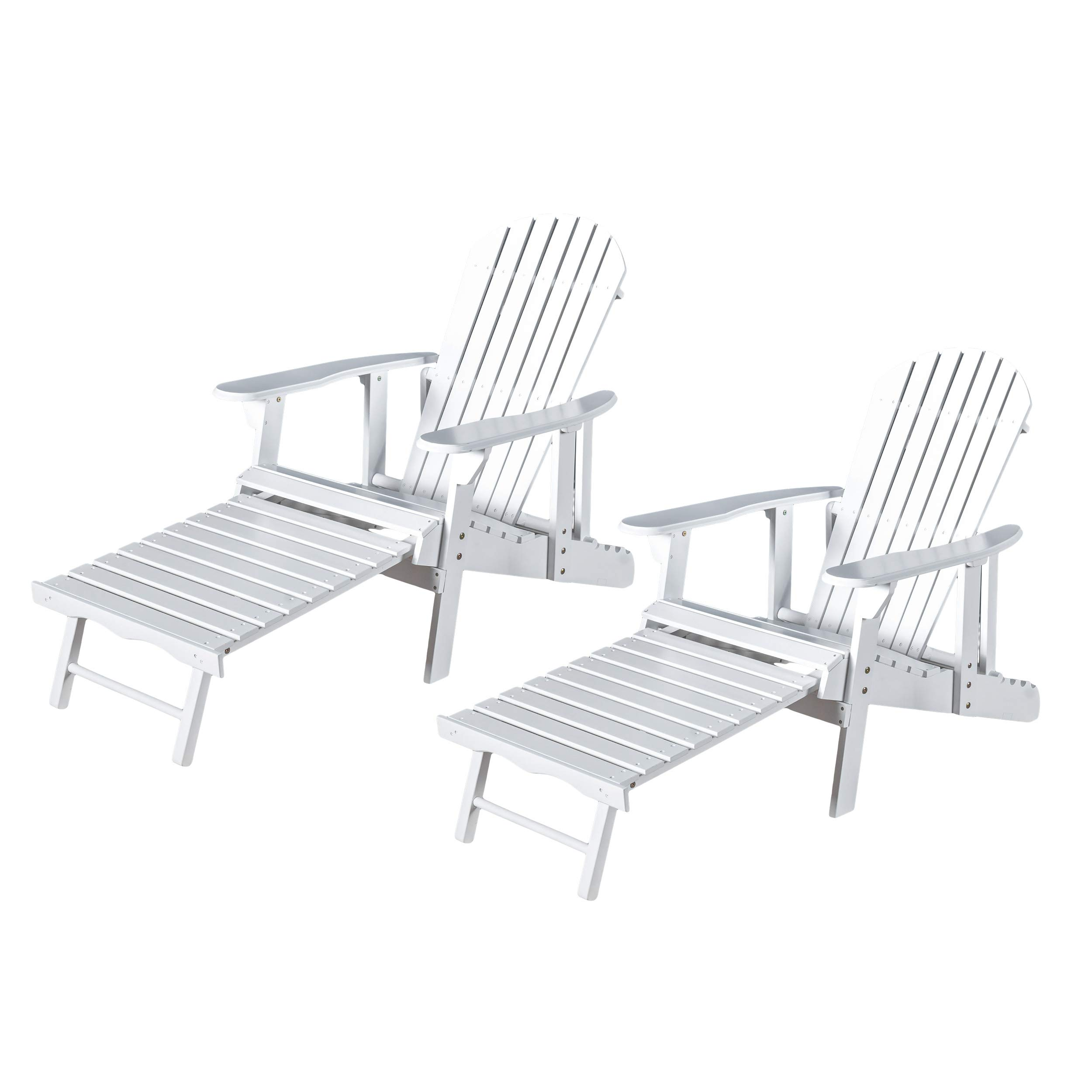 Christopher Knight Home Tampa White Reclining Wood Adirondack Chair with Footrest Set of Two (2)