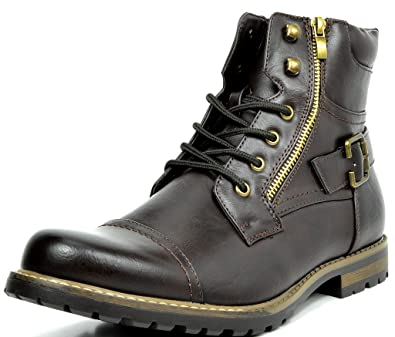 f8002ff0ac71 Bruno Marc Men s Philly-3 Dark Brown Military Combat Boots - 6.5 ...