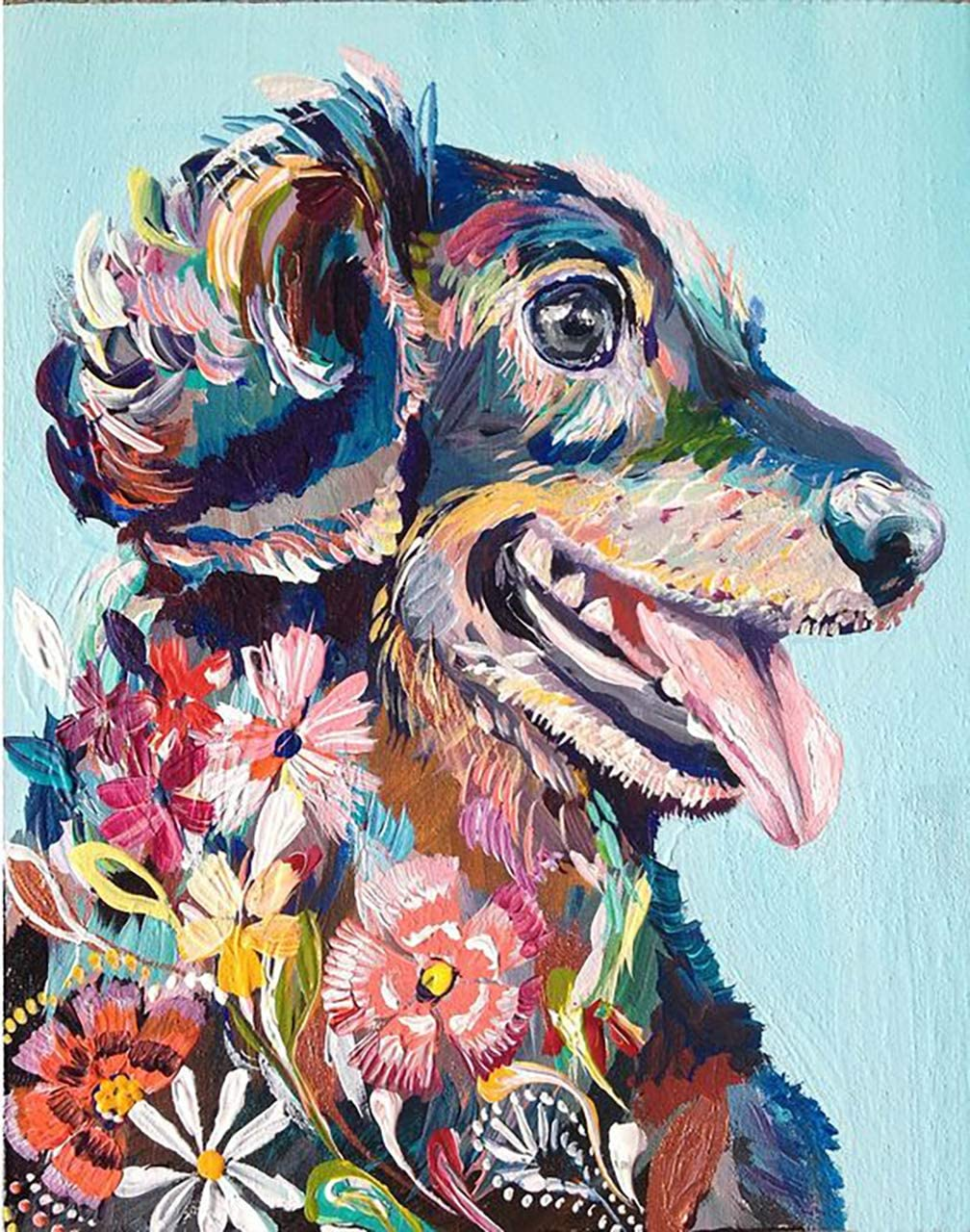 5D Diamond Painting Full Drill Embroidery Cross Stitch Kit Dogs Flower Art Decor