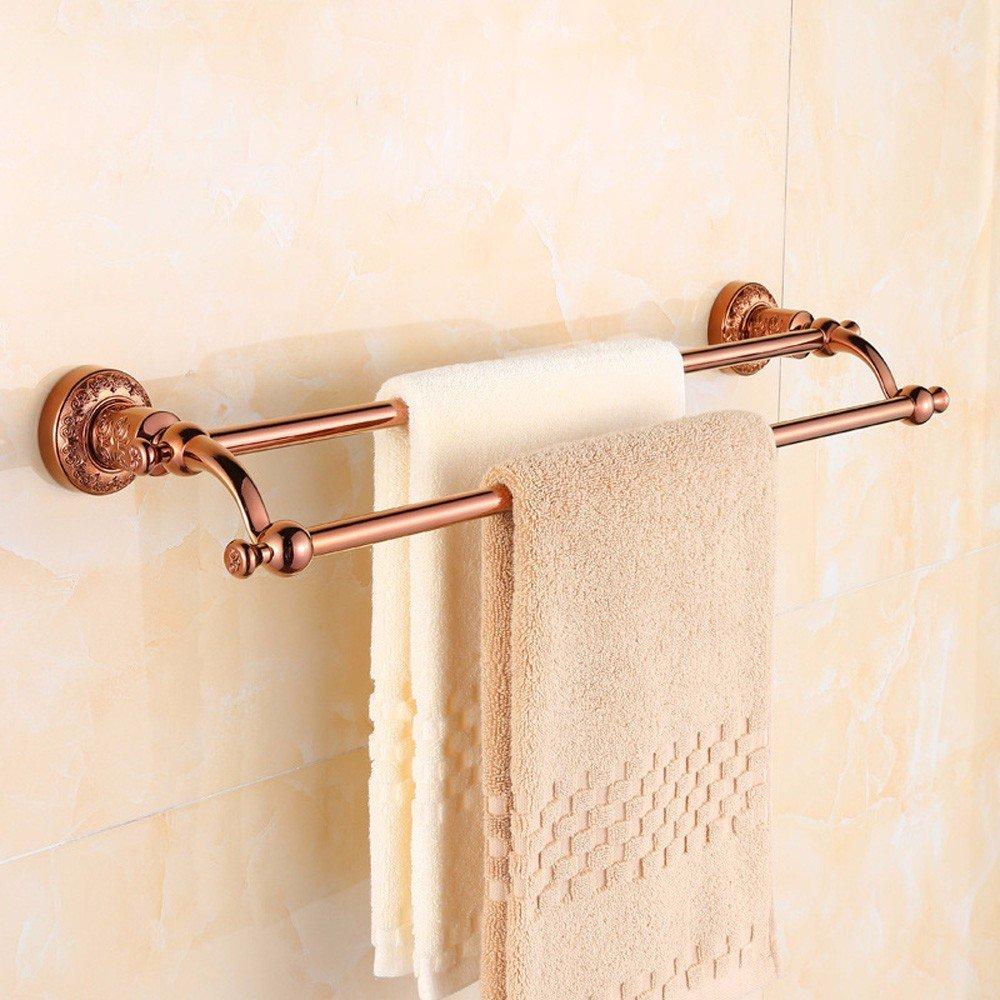 hot sale 2017 KHSKX Golden Towel Bar double Towel rack copper rose gold continental carved bathroom hardware accessories setRose gold