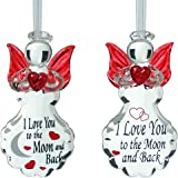Glass Angel Ornaments - Set of 2 Crystal I Love You to the Moon and Back Ornaments - Red Angel Wings & Hearts - Angel Decorations