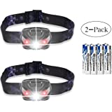 LED Headlamps Flashlight, Zukvye Cree LED Headlamp with Red Lights,Waterproof Head Light for Running, Camping, Reading, Kids, DIY & More - 8 AAA batteries included 2 Pack