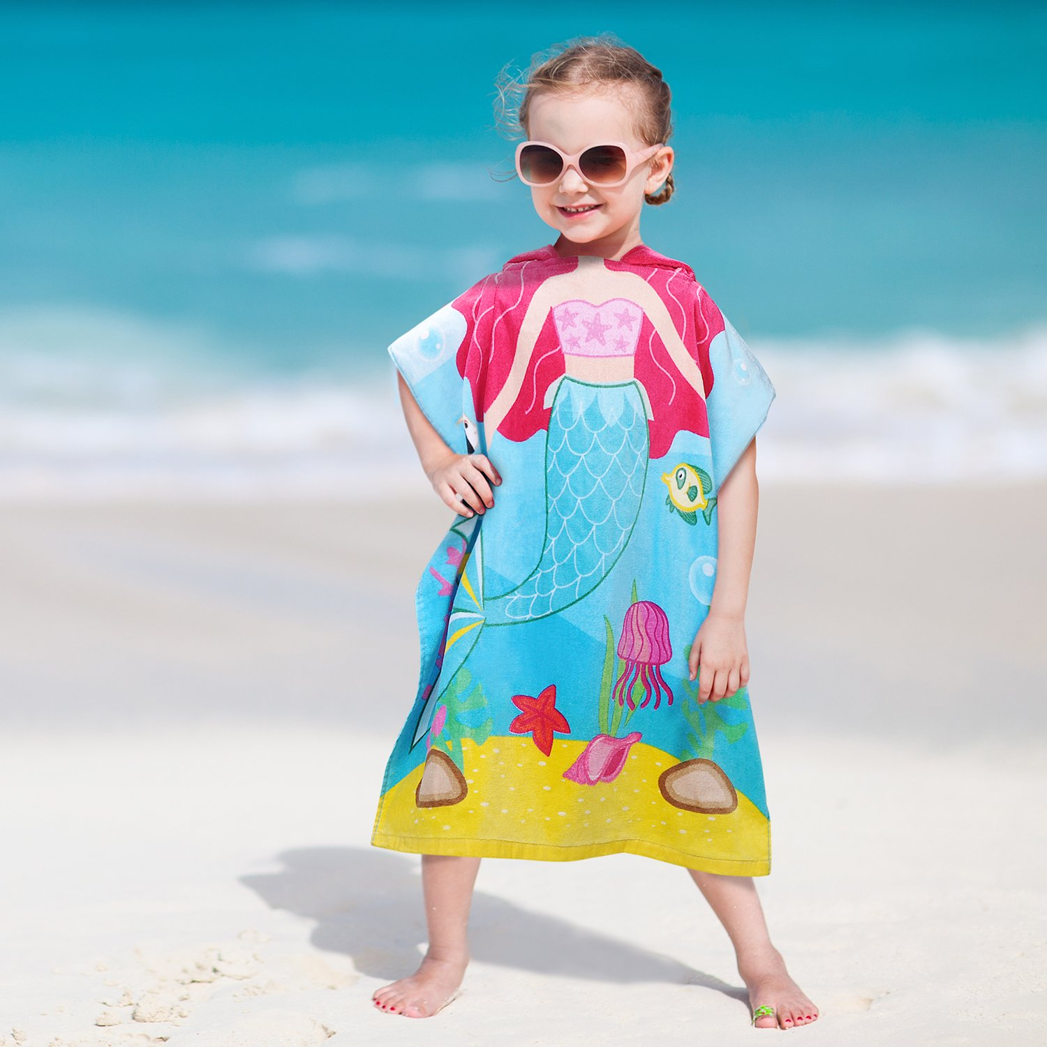 Hooded Bath Towel for 2 to 6 Years Girl,100% Cotton Water Absorption Beach Poncho Swim Changing Robe Mermaid Pattern Sand Proof