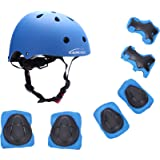 KAMUGO Kids Youth Adjustable Comfortable Helmet with Sports Protective Gear Set Knee/Elbow/Wrist Pads for Cycling Skateboarding Skating Rollerblading and Other Extreme Sports Activities