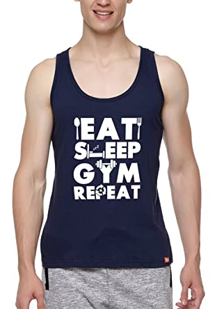 WYO Wear Your Opinion Wear Your Opinion Men s Graphic Printed Sports Gym  Sleeveless Vest T-Shirt(Gym Repeat 2b8314efe