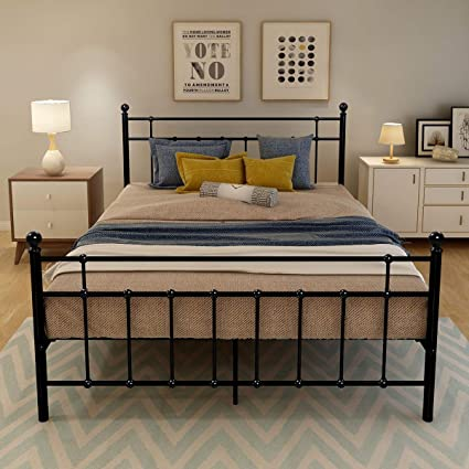 promo code cbb3b 2e18b DUMEE Queen Size Metal Platform Bed Frame wth Headboard and Footboard Steel  Round Slat Mattress Foundation Black