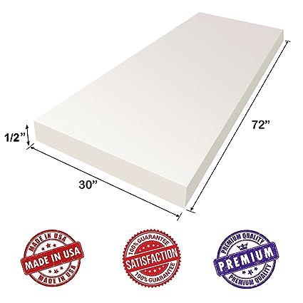 Upholstery Foam Cushion Sheet   1/2u0026quot;x30u0026quot;x72u0026quot;, Medium Density