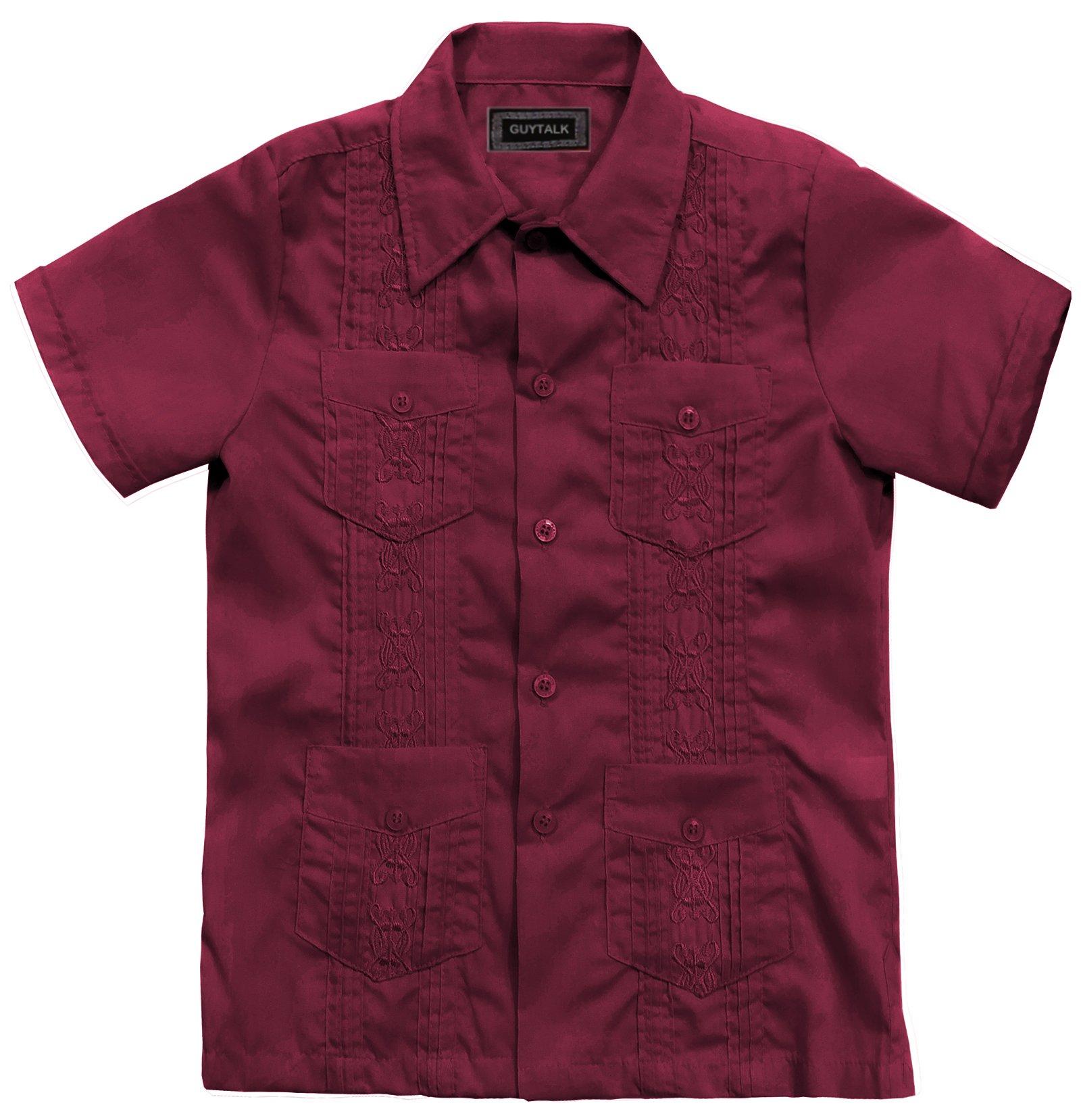 Kids Boys' Guayabera Short Sleeve Shirt Burgundy-6