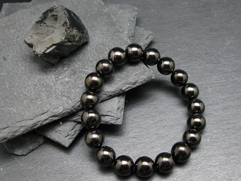 Shungite Genuine Bracelet ~ 7 Inches  ~ 14mm Round Beads