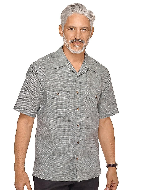 1950s Style Mens Shirts Paul Fredrick Mens Slim Fit Linen Houndstooth Sport Shirt $54.50 AT vintagedancer.com
