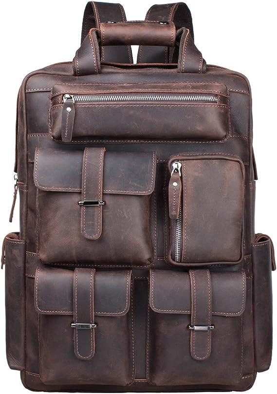 17 inch Genuine leather Crazy Horse Grain Leather Men Backpack Vintage Laptop Backpack Travel bag Rucksack knapsack women men stylish Grain