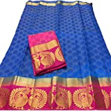 C J Enterprise Women's Kanjivaram Cotton Silk sarees With Blouse Piece