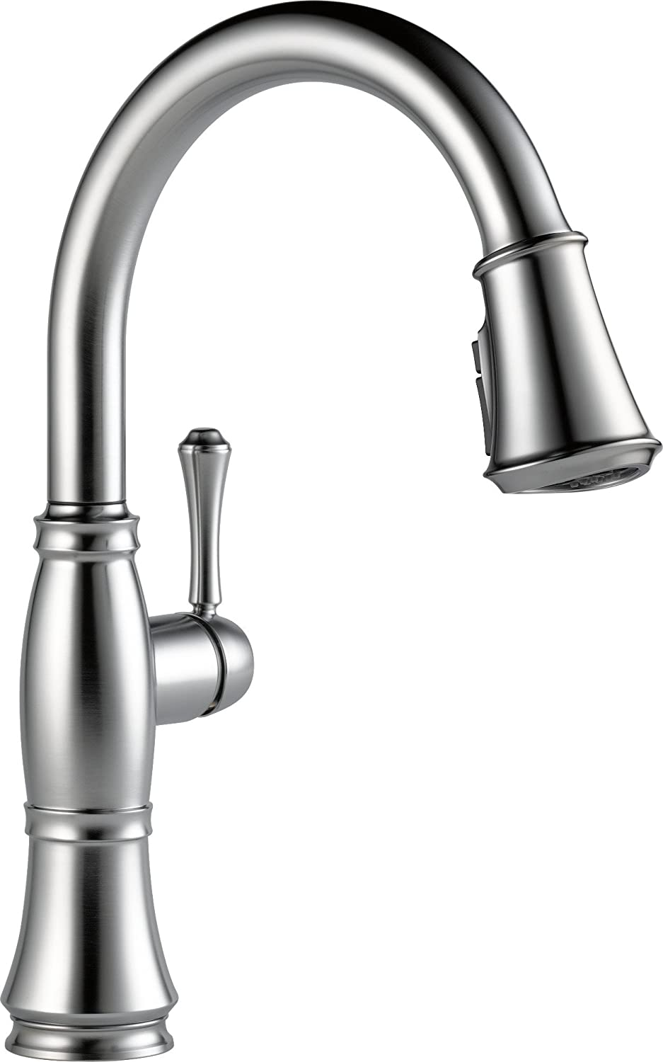 Delta Faucet Cassidy Single-Handle Kitchen Sink Faucet with Pull Down Sprayer, ShieldSpray Technology and Magnetic Docking Spray Head, Arctic Stainless 9197-AR-DST