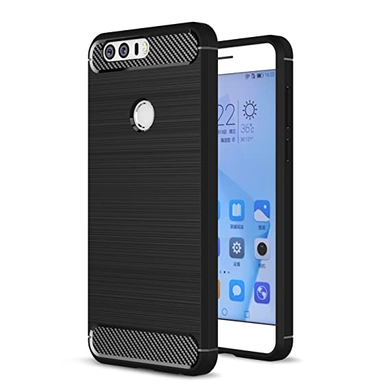 Honor 8 Case, Landee Soft TPU Resilient Shock Absorption and Carbon Fiber Design Silicone Case for Huawei Honor 8 (Black)