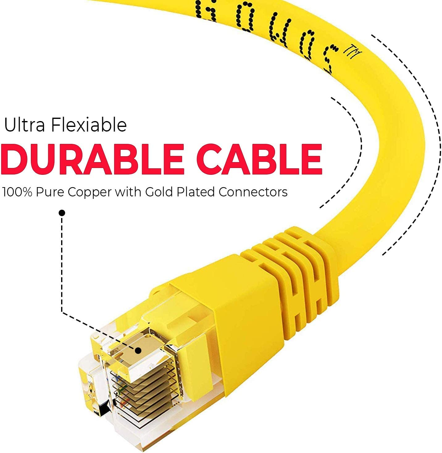 1Gigabit//Sec High Speed LAN Internet//Patch Cable Yellow 350MHz 20-Pack - 2 Feet GOWOS Cat5e Ethernet Cable 24AWG Network Cable with Gold Plated RJ45 Snagless//Molded//Booted Connector
