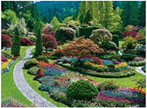 Jigsaw Puzzles 1000 Piece, The Butchart Gardens Sunken Garden Puzzles for Adults Kids Best Gifts for Family Friends