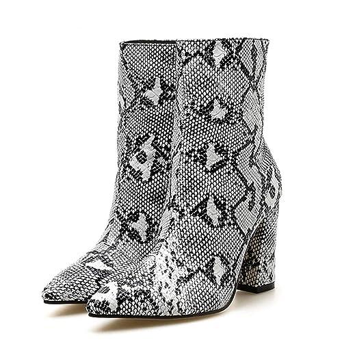 ee3361e0d068 Amazon.com | T-JULY Women's Zipper Boots Snake Print Ankle Boots ...