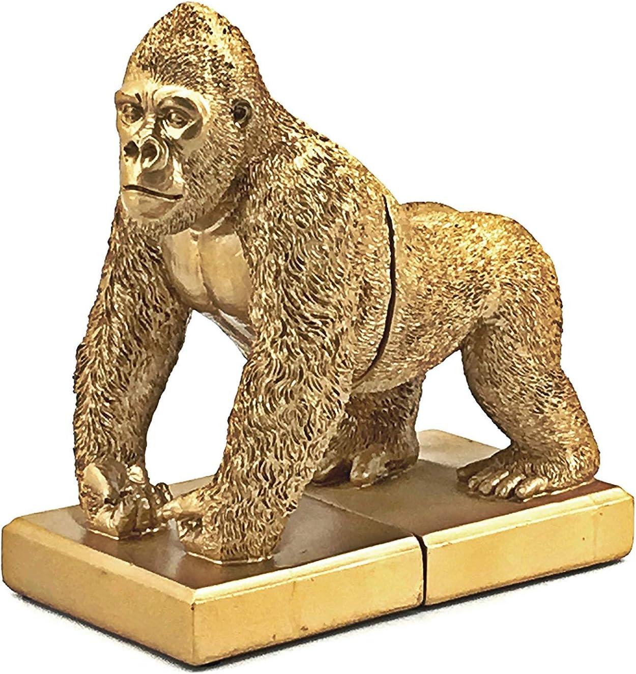 Bellaa 24193 Bookends Decorative Gold Heavy Books Shelves Non Skid Heavy Duty Kids Gorilla King Kong 8 inch