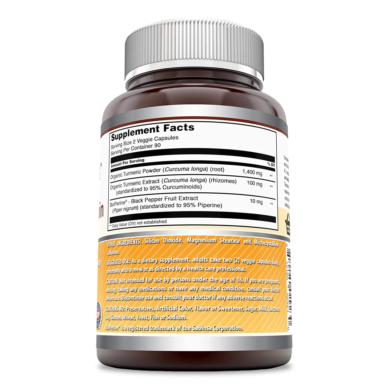 Amazing Formulas Turmeric Curcumin with Bioperine 1500 MG 180 Vegetarian Capsules: Amazon.es: Salud y cuidado personal